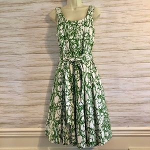 CALVIN KLEIN Print Belted Dress